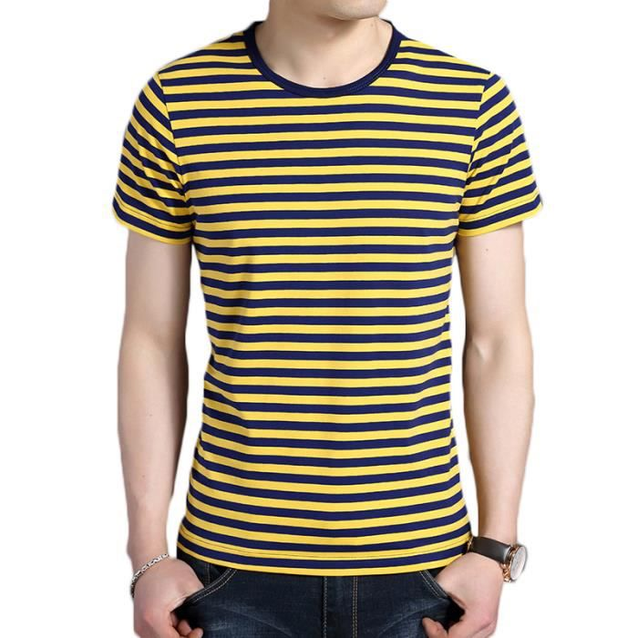 Homme Shirt coton Rayé Fit Rond Slim Col Tee 100 T TFJc3l1uK
