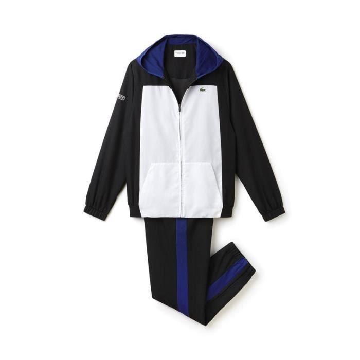 Survêtement Lacoste WH8006 RLR à capuche et poches kangourou blanc et noir. 51d657f5d49