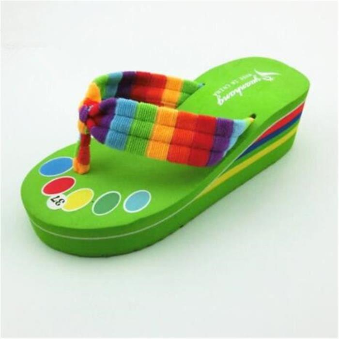 marque pantoufle meilleur femmes de chaussures d'été sandales Nouvelle mode plages femme tongues chaussures de dssx131vert39