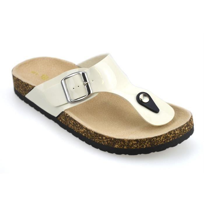 db493548da7 En cuir pour femme semelle intérieure Toe plat Postes Tongs été Mules  Chaussures Sandales Assise plantaire 3TFJOO Taille-36