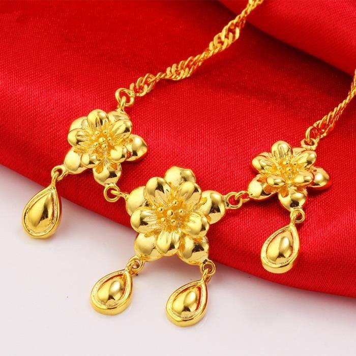 Rétro 24k or jaune plaqué fleur collier / bracelet / boucles doreilles mariée bijoux de mariage ensembles