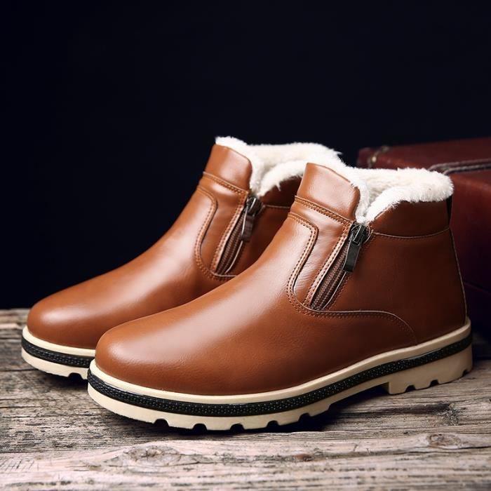 Botte Homme Hiver - automne en cuir épaisBas marron taille42