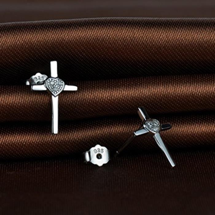 Boucle DOreille De Femme En Argent 925 Et Zircon Le Cœur Et La Croix Classique Clou DOreille