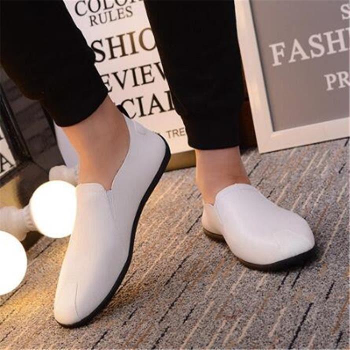 Mocassins Hommes Cuir Printemps Ete Plat Chaussures CHT-XZ079Noir42 CfDn2JlQK