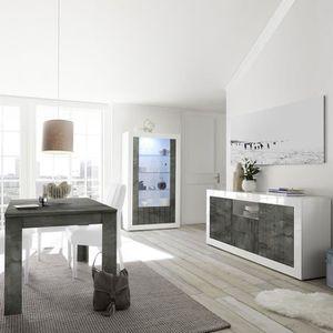 SALLE À MANGER  Séjour moderne blanc effet béton gris foncé URBAN