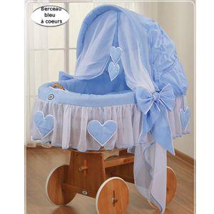 BERCEAU ET SUPPORT Berceau bébé osier complet textile bleu - coeurs