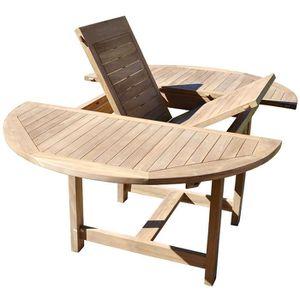 table de jardin en bois ronde achat vente pas cher. Black Bedroom Furniture Sets. Home Design Ideas
