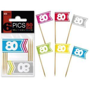 PICS COCKTAIL - APERO Pic drapeau anniversaire: 80ans (x6) REF/PDPM08