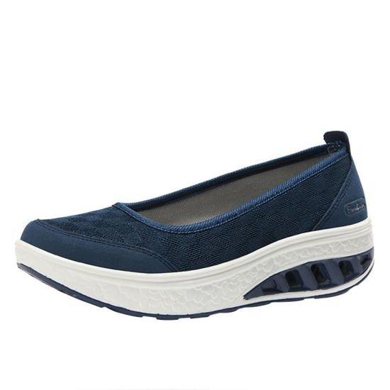 Fashion Femmes Air Cushion Platform Shoes Shake Shoes Slip Sport Leisure Sneakers Bleu_XZ*5365 Bleu Bleu - Achat / Vente slip-on