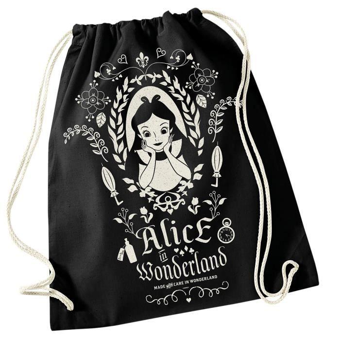 super populaire 949ed 311ed Alice au Pays des Merveilles - Sac de sport miroir magique Disney - Coton,  45x39cm - Noir