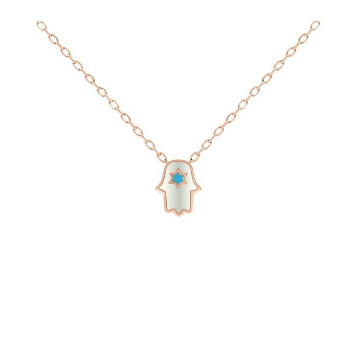 Womens Dainty Hamsa & Jewish Star Rose Gold Necklace For And + Layering Jewelry | Alef Bet IU6Q3