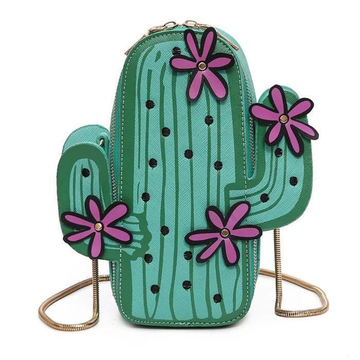 Forme Cactus Pu cuir Mini sac bandoulière mignon porte-monnaie épaule chaîne Sac V3G79