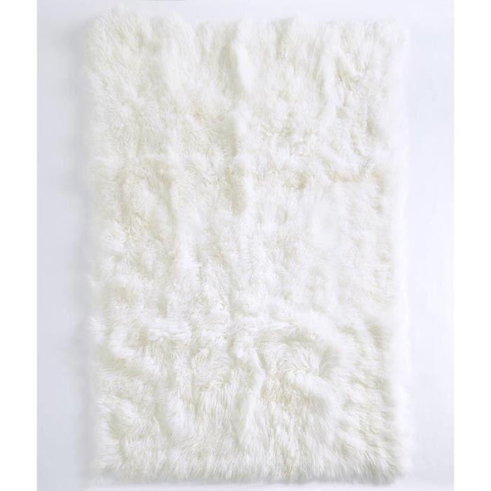 Tapis En Peau De Chevre De Mongolie Blanc 170 X 230 Pollux Achat