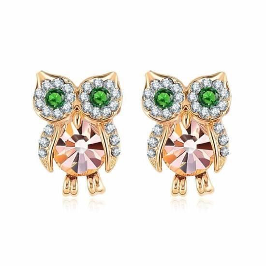 Belles boucles doreilles Hibou en Plaqué OR Rose et cristal de la marque Ecrin Doré