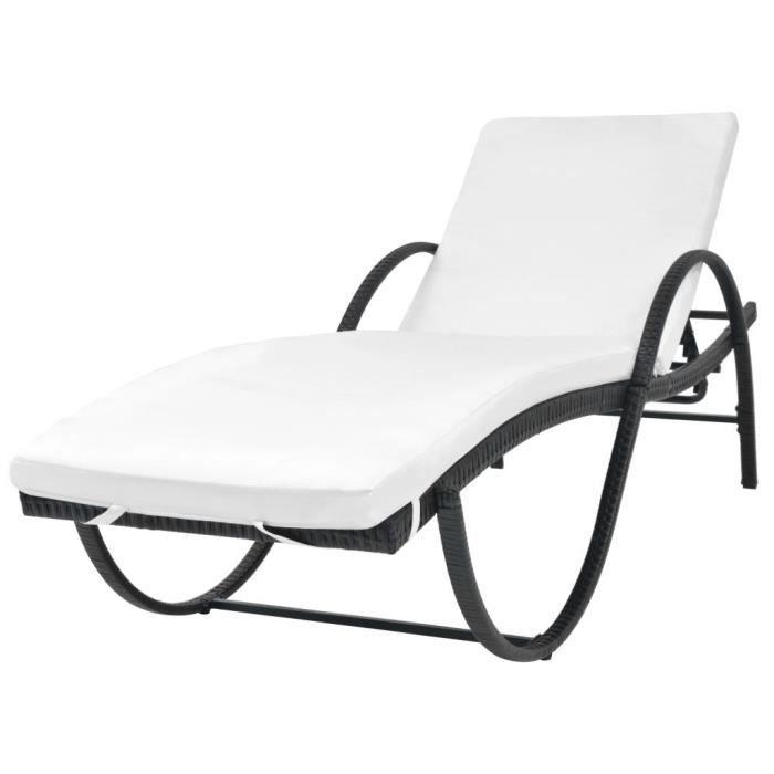 CHAISE LONGUE Chaise Longue Rsine Tresse Noir