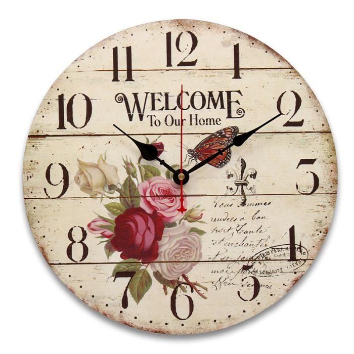 645ae54752f51e 34cm Horloge Murale Rose MDF Vintage Cuisine Antique Shabby Chic Retro  Accueil TYPE D