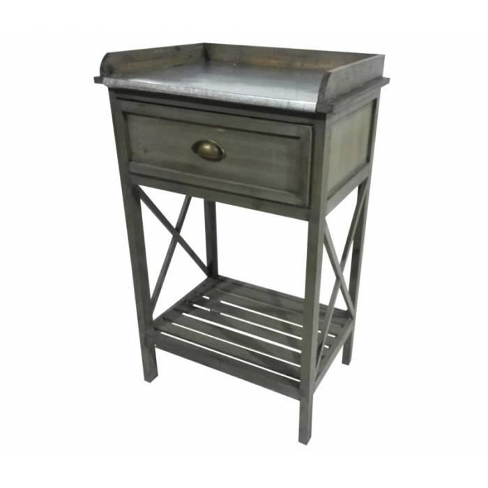 meuble d'appoint console à 1 tiroir 1 etagère en pin vieilli et
