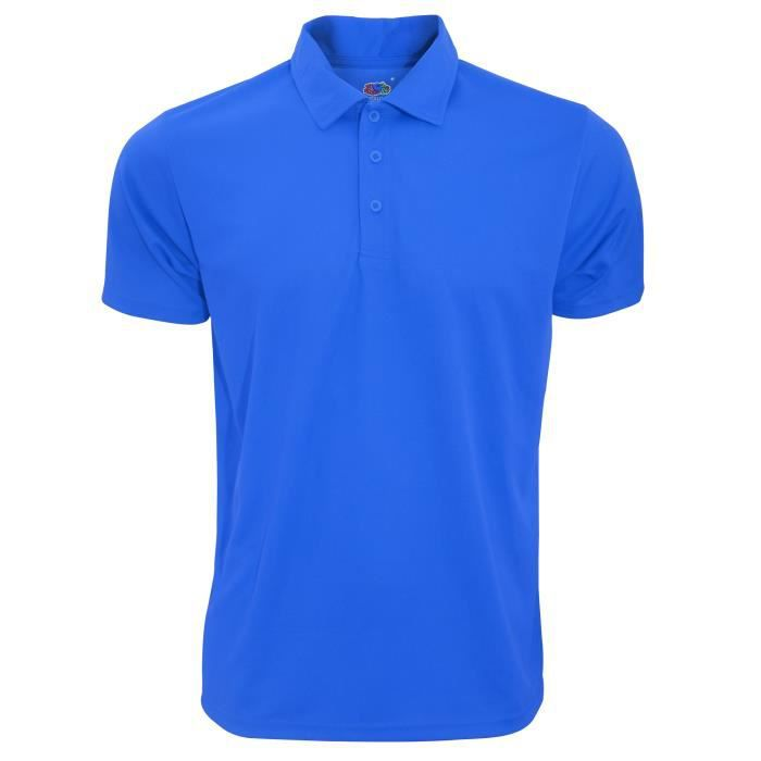 Fruit Of The Loom - Polo sport à manches courtes - Homme Bleu roi ... bd67f2527529