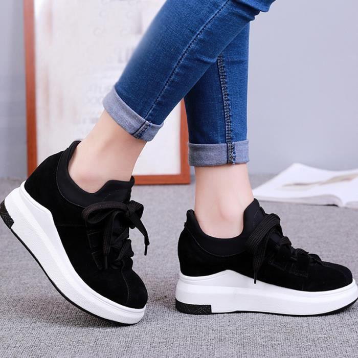 chaussures multisport Femme Automne - hiver femme casual Plate-forme en cuir talon haut noir taille8.5 LM7nCgxACO