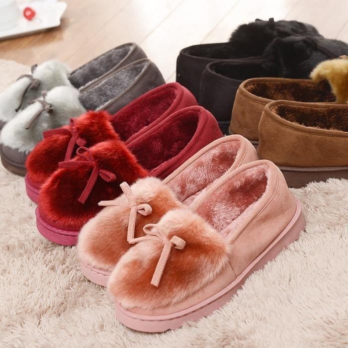 Mode féminine d'hiver Accueil coton Chaussons pois en coton épais chaussons garder au chaud en bas coton intérieur et extérieur