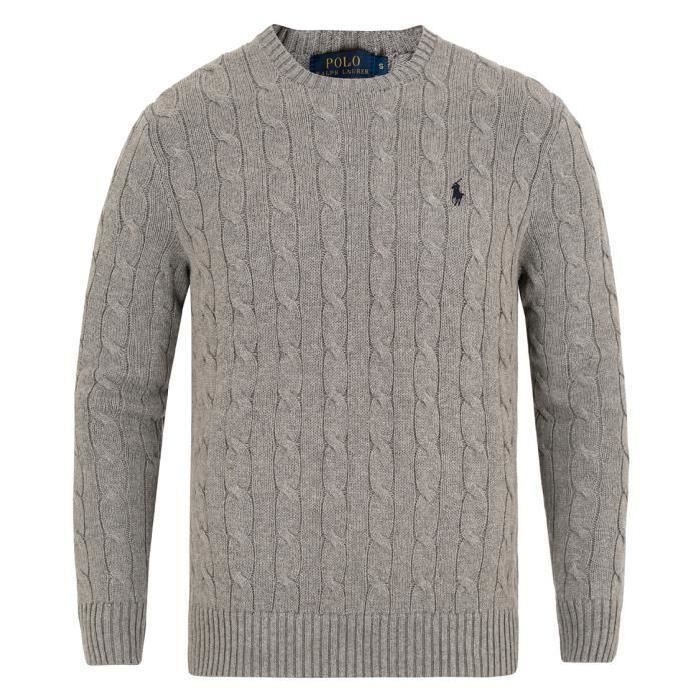 ee2857d3369 PULL RALPH LAUREN HOMME COL ROND Gris GRIS - Achat   Vente pull ...
