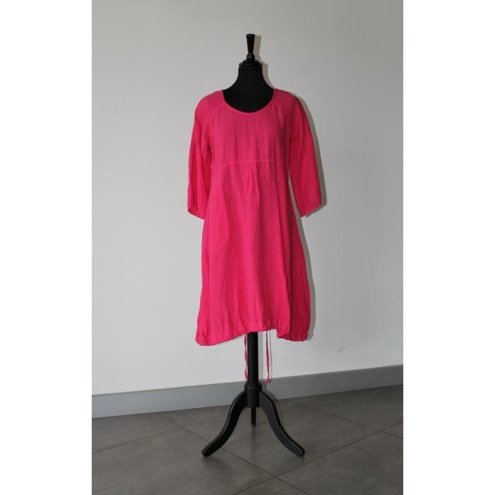 Robe rose 100 % LIN