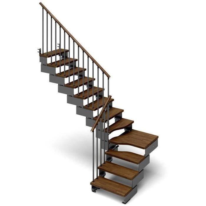 escalier quart tournant 11 marches en bois massif noyer structure en m tal composity. Black Bedroom Furniture Sets. Home Design Ideas