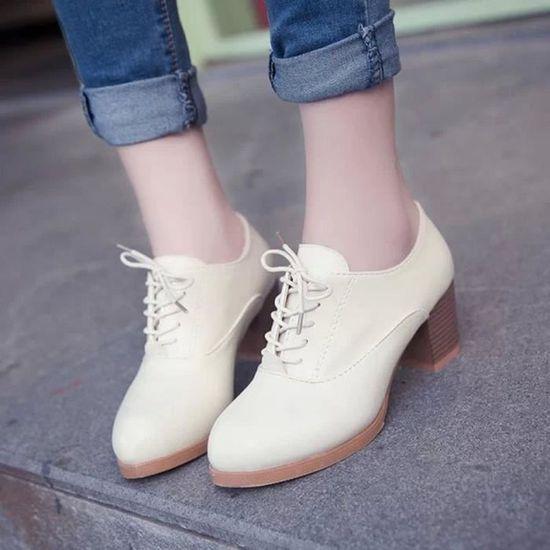 Cuir Casual Bottes En Mode Court Beige Chaussures Femme Cheville Femmes Pour qYYO4X