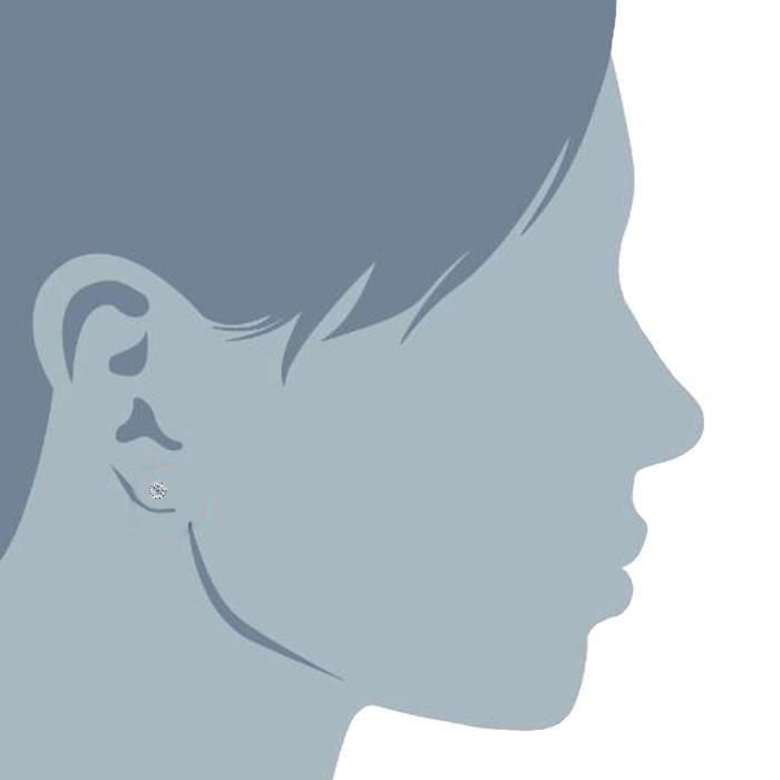 Boucles doreilles- 14k ronde or blanc coupé blanc zircon boucles d'oreilles, 3mm