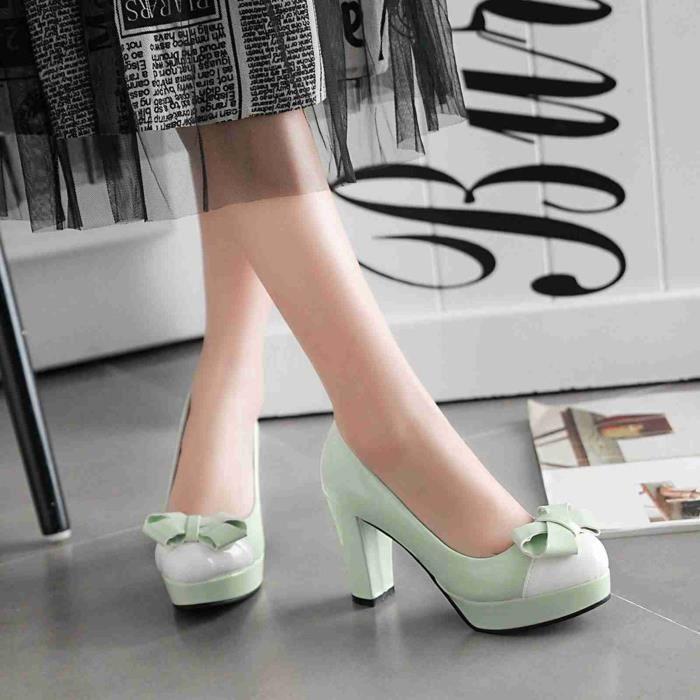 Chaussures Femmes avec bowknot nouvelle mode solides élégantes belles Club Mariage Soiree