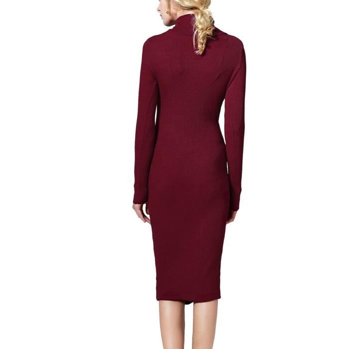 f207052b426 ... Cowl Neck femmes Classique Robe pull moulante strechable 2DYO73 Taille-34  ...