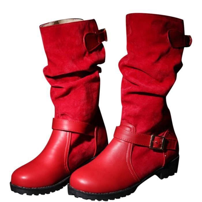 Plat Casual Extra Boucle Talon Chaussures strap Avec Rouge Dames large Femmes Moyen Bottes zqwafY