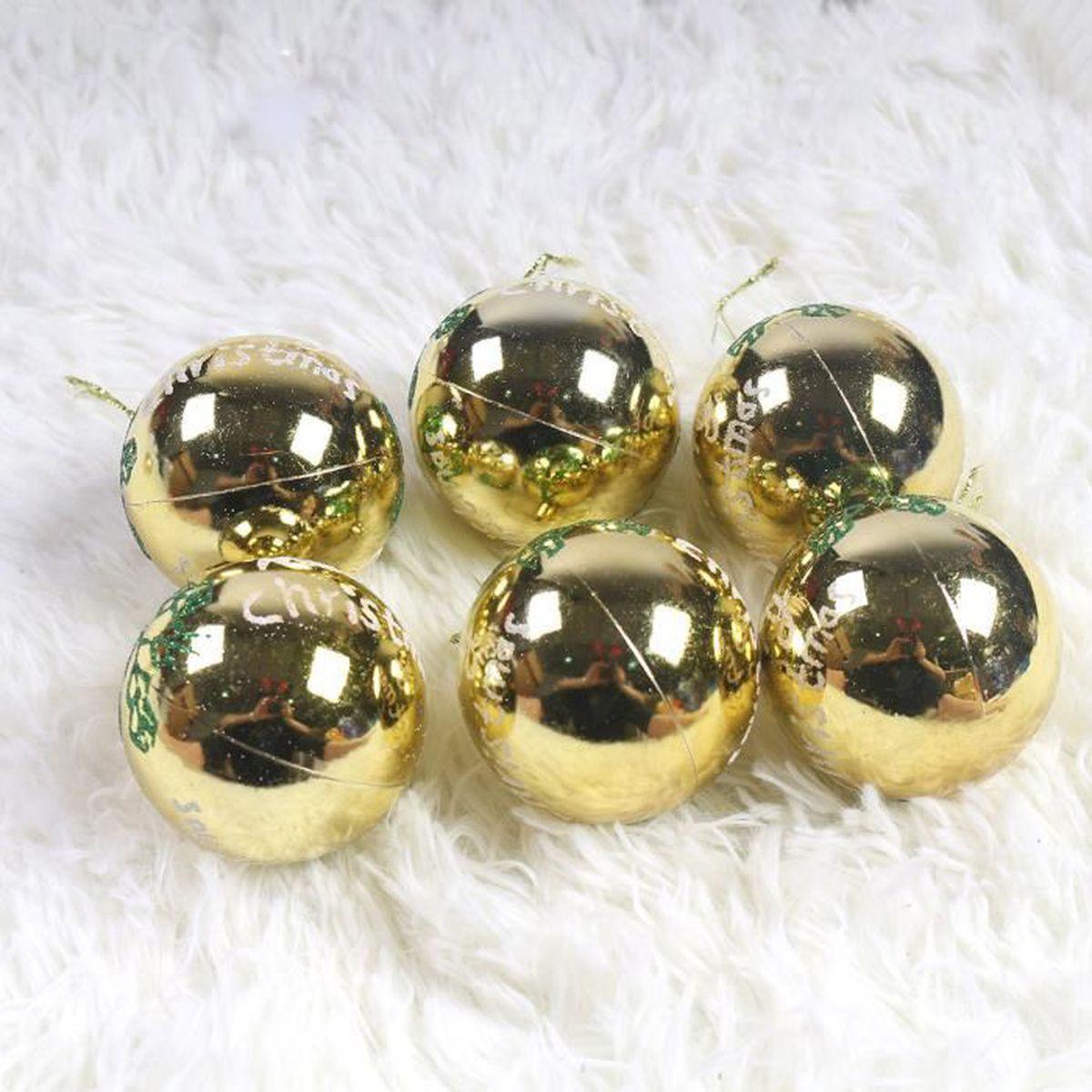 Idee Deco Boule Plastique Transparente Noel lot 24 boules pour décoration noel diverses occasions 4 modèles différents  6 pièces pour chaque modèle diamètre 6cm