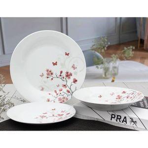 SERVICE COMPLET Service de Table 18 pièces en porcelaine Papillons