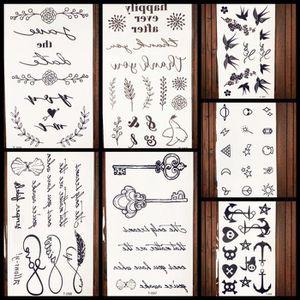 7 Morceaux Bracelet De Tatouage Temporaire Fleur Autocollants Noire