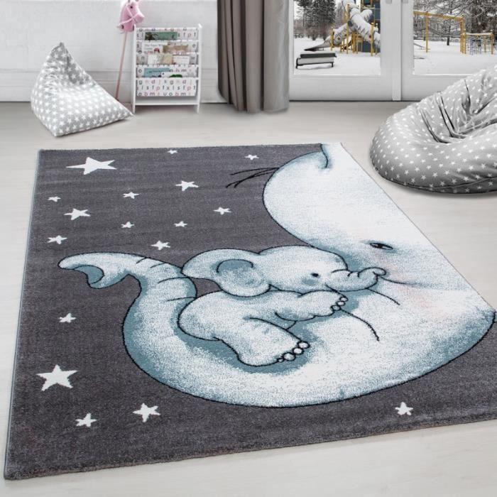 Tapis de chambre d´enfant éléphant et etoiles Gris-Blanc-Bleu ...
