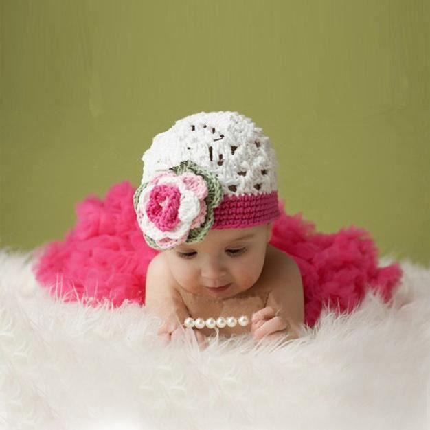 Bébé fille nouveau-né Knit Crochet chapeau + jupe Photo Prop costumes  photographie WSM51116084 9ce5b3422e6