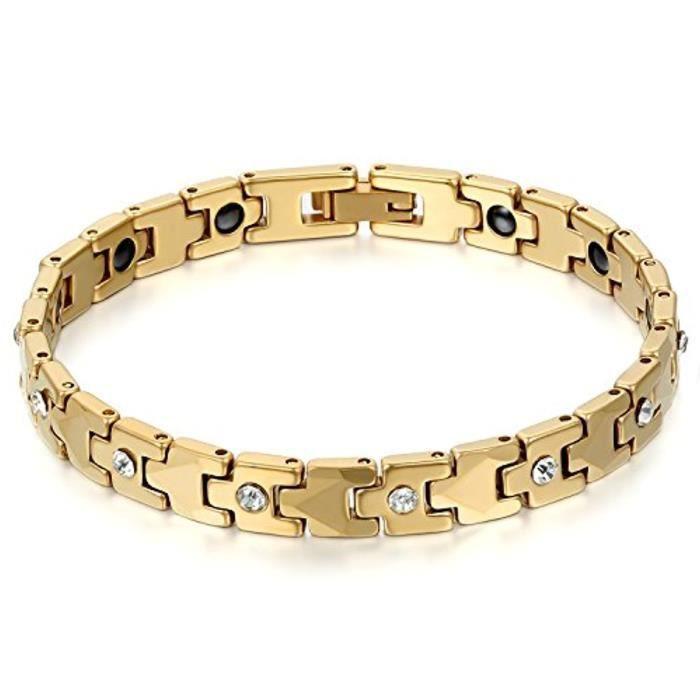 Bracelet Lien Poignet Femme Classique Sante Strass Faux Diamant Magnétique Aimant Tungstène Acier Chain De Main Bijoux 1224