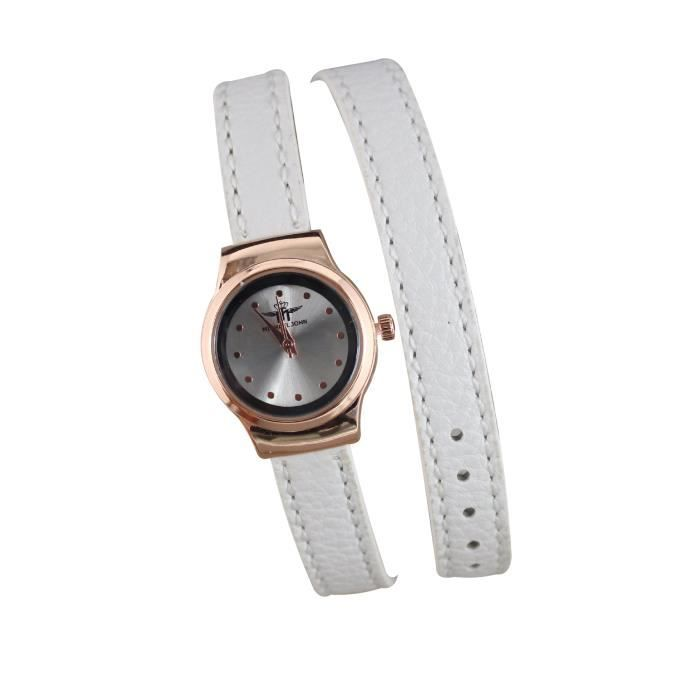 Super montre bracelet femme double tour cuir blanc cadran doré rose  YV81