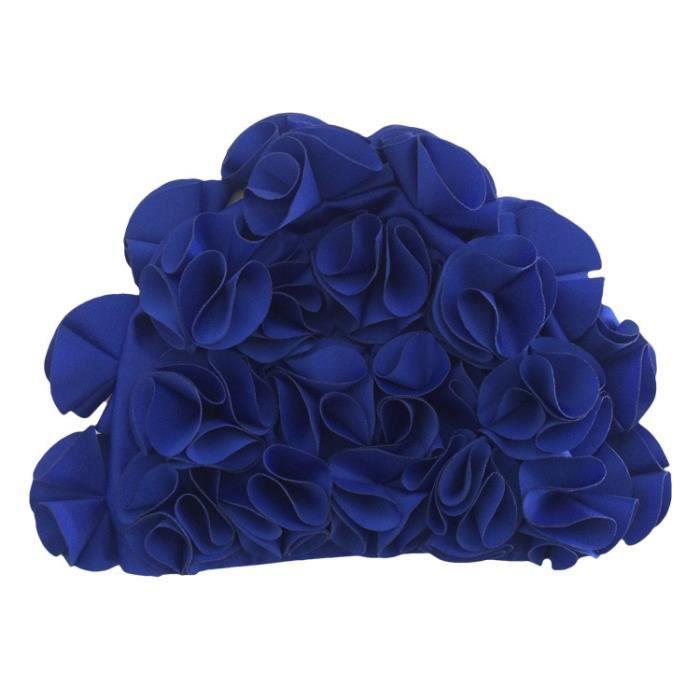 Bonnet de bain pour piscine Femme bonnets natation démêlant en décoration de fleurs confortable et élastique waterproof Saphir