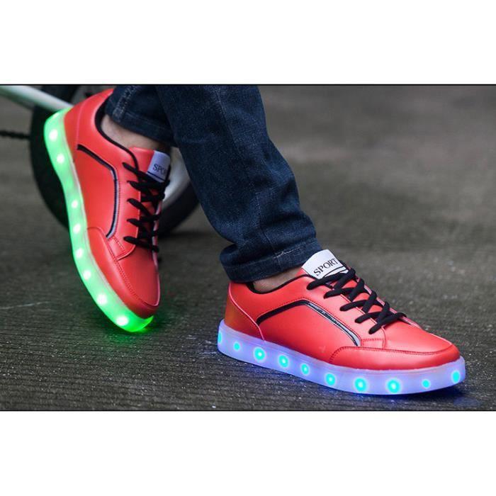 Homme LED 7 Lumières de CouleurChargable clignotant Fashion Sneakers