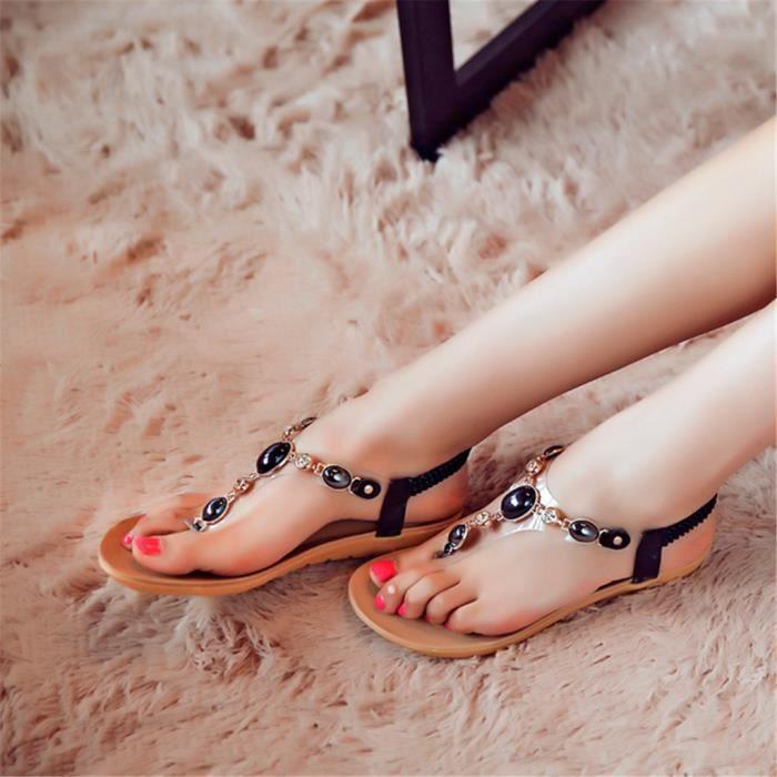 196eda5381ccd Mode Femmes Massage confortables Sandales talon plat Chaussures de plates  perlée strass Noir