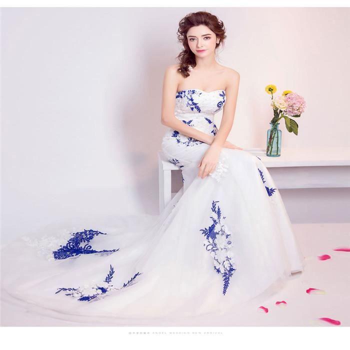 Robe de mariee bleu et blanc