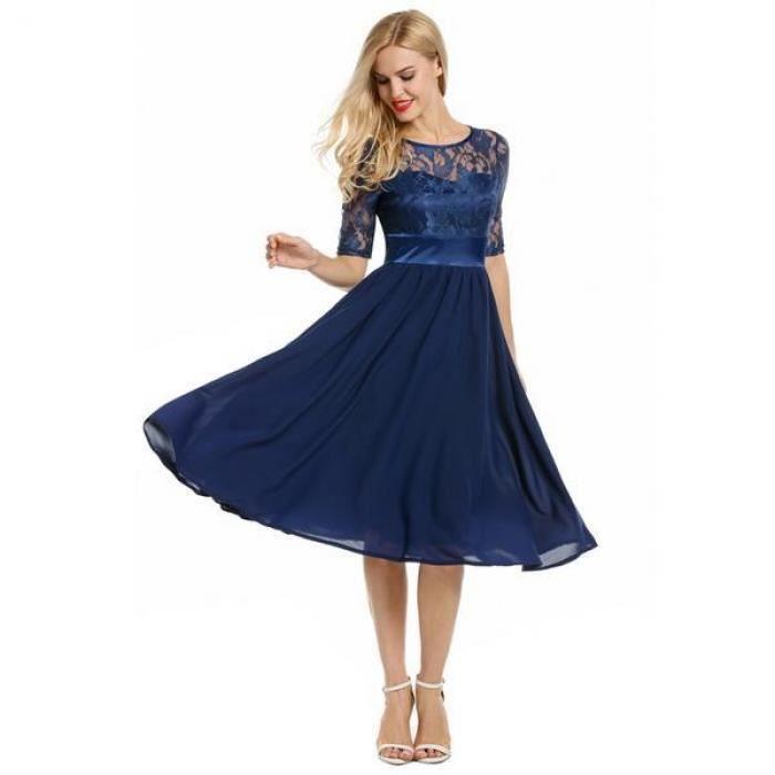 robe femmes en dentelle manches courtes soirée plissée