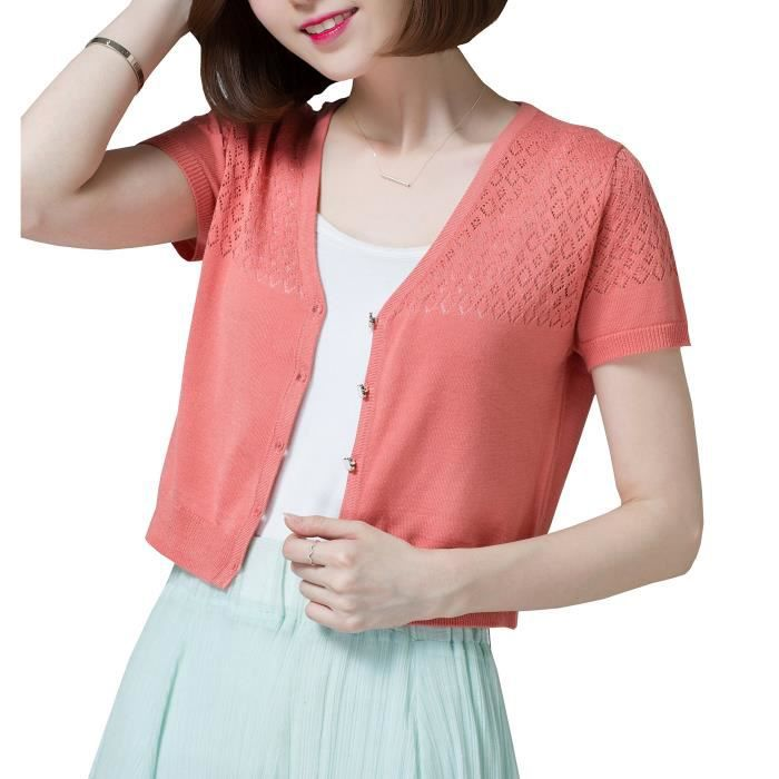 Womens Summer V Neck Short Sleeve Cardigans For Button Up Knit