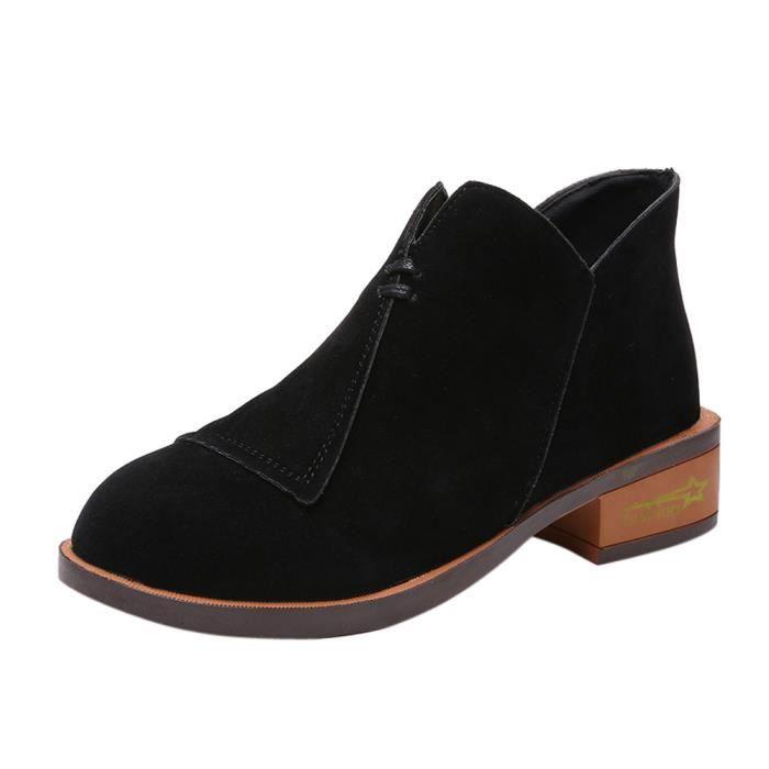 BOTTE Femmes Dames Automne Chaussures Cheville Solide Ro