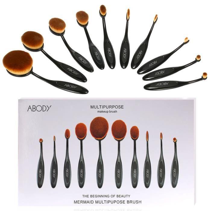 PINCEAUX DE MAQUILLAGE 10PCS Mode Maquillage Brosse Pinceaux de Foundatio