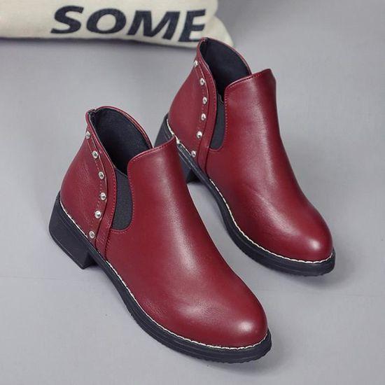 Cuir Toe Martain Bottines Plates En femmes Ronde Deessesale Wy1312 Rivets Bottes Chaussures qwxBTT81A