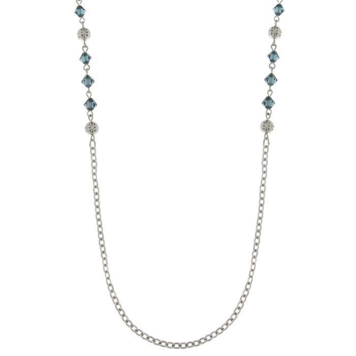 Downton Abbey Les femmes de couleur argentée Bleu Perle Opera Collier de 91,44cm 1WM1RL