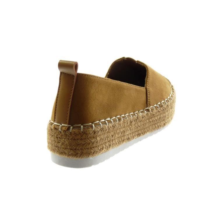 Angkorly - Chaussure Mode Espadrille plateforme bi-matière femme corde élastique finition surpiqûres coutures Talon plat 4.5 CM -